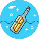 bottle, message, ocean icon