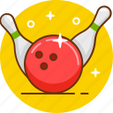 bowling, game, strike icon