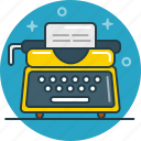 content, document, journalist, text, typewriter, writer icon