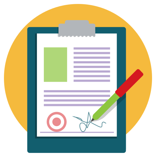 contract, document, paper, pen, sign, signature icon