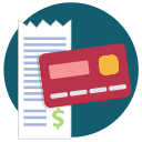 buy, credit card, purchase, receipt icon
