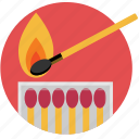 fire, ignite, light, match, matchbox, matches icon