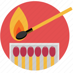 fire, ignite, light, match, matchbox, matches icon