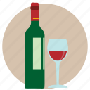 alcohol, alcoholic, bottle, glass, red wine, vino, wine icon