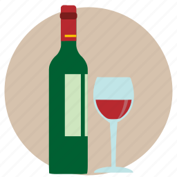 alcohol, alcoholic, bottle, glass, red wine, vino, wine icon