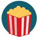 film, movie, pop corn, popcorn, snack, watch icon