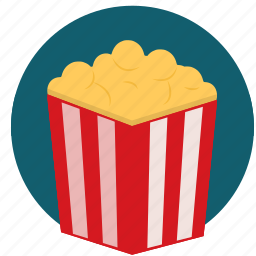 film, movie, pop corn, popcorn, snack, watch icon