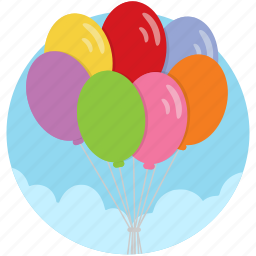 balloons, celebrate, celebration, elevation, levitate, release icon