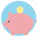 bank, money, pig, piggy bank, savings icon