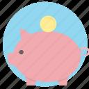 bank, money, pig, piggy bank, savings icon