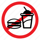 ban, beverage, eat, food, healthy, sign, warning icon
