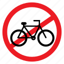 ban, bicycle, bike, cycling, no, notice, sign icon