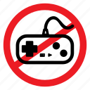 ban, console, game, no, notice, play, sign icon