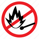 ban, fire, flame, lighter, no, notice, sign icon