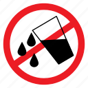 ban, drink, drop, sign, spilling, water, wet icon