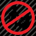 ban, closet, dump, no, notice, sign, waste icon