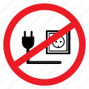 notice, cable, no, sign, plug-in, ban, unplug