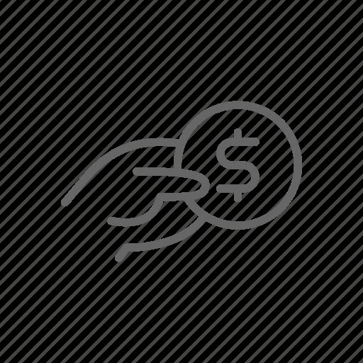 cash, coin, dollar, finance, hand, line, money icon
