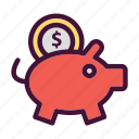 bank, dollar, finance, money, pig, saving icon