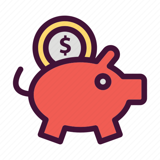 Saving, finance, money, dollar, pig, bank icon