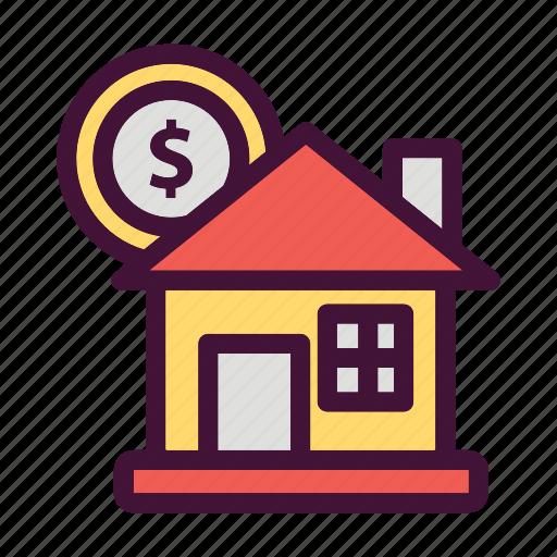 Saving, finance, house, dollar, money, bank icon