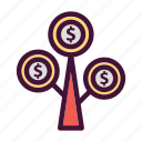 bank, dollar, finance, money, saving, tree icon