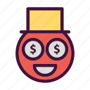 bank, dollar, finance, money, saving, smile icon