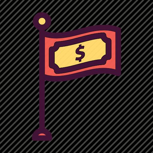 bank, dollar, finance, flag, money, saving icon