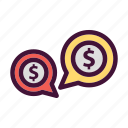 bank, dollar, finance, money, saving, talk icon