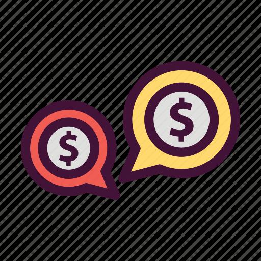 bank, dollar, finance, money, saving, talk icon