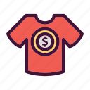 bank, dollar, finance, money, saving, tshirt icon