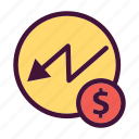 bank, decline, dollar, finance, money, saving, stock icon