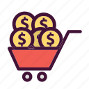 bank, cart, dollar, finance, money, saving icon