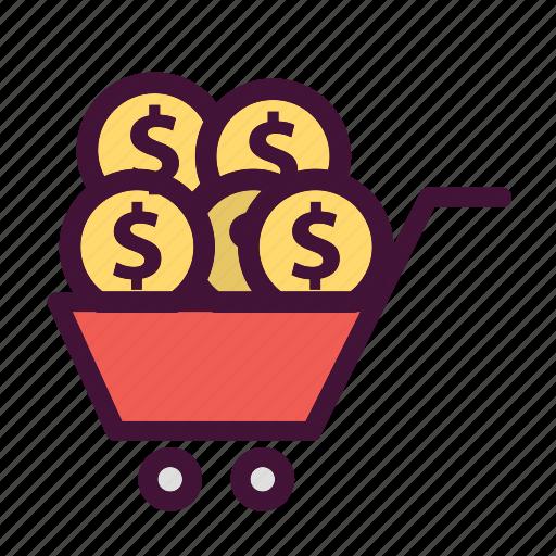 bank, cart, dollar, finance, money, saving icon