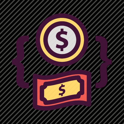 Bank, money, saving, finance, dollar icon