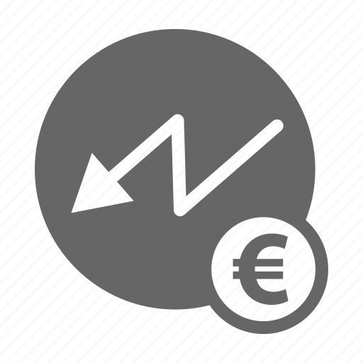 bank, decline, dollar, euro, finance, money, saving icon