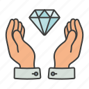 diamond, hands, money, treasure icon