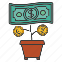 cent, money, money flower, pot icon