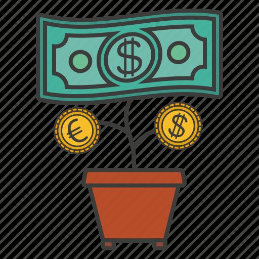cent, money, money flower, pot icon