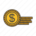 cash, cent, dollar, gold, money icon