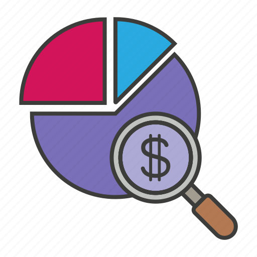 annual income, chart, dollar, magnifinder, money icon