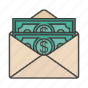 dollar, envelope, money, present, salary icon