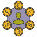 dollar, euro, money, money convert icon