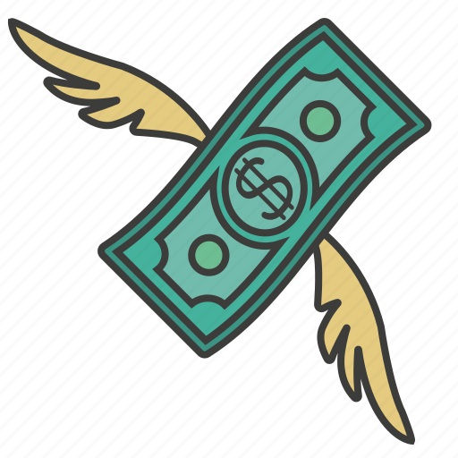 banknote, cash, dollar, fly, money icon