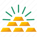 bank, bars, bricks, finance, gold, savings, value icon