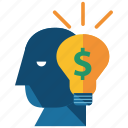 bank, idea, lightbulb, money, person, savings icon