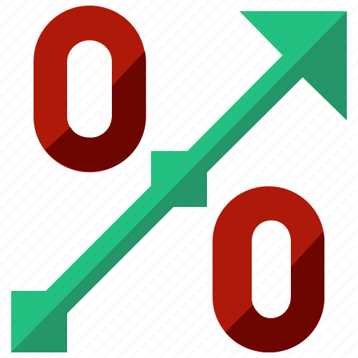 arrow, bank, percentage, rise, sale, savings icon