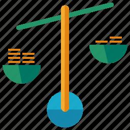 balance, bank, ecommerce, finance, savings, scales icon