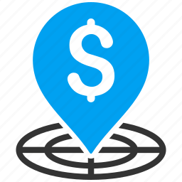 bank placement, banking pin, business, financial center, map marker, money, target icon