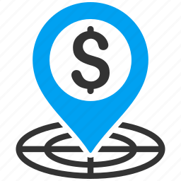 business aim, destination, location, map marker, money, strategy, target icon